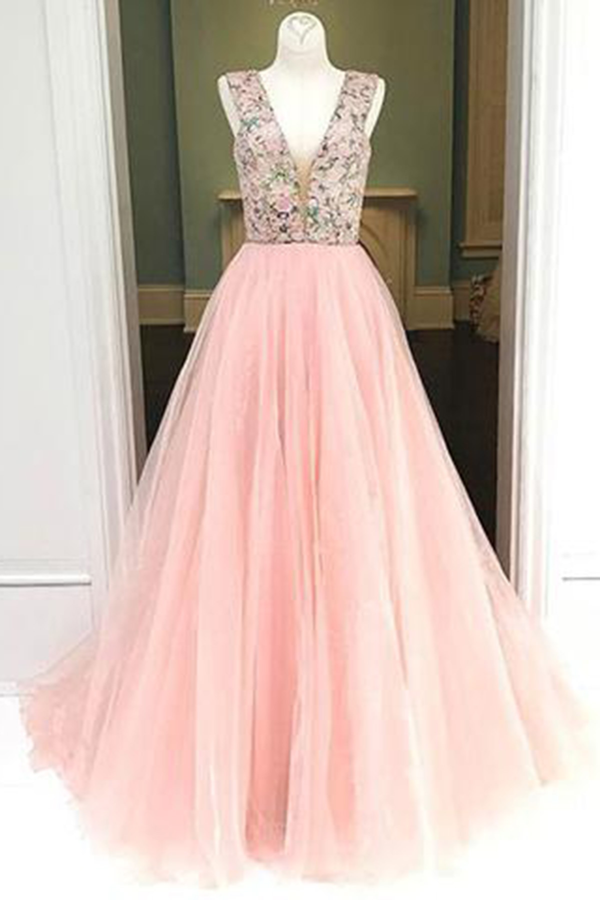 Pink tulle V neck lace long A-line custom size senior prom dress ...