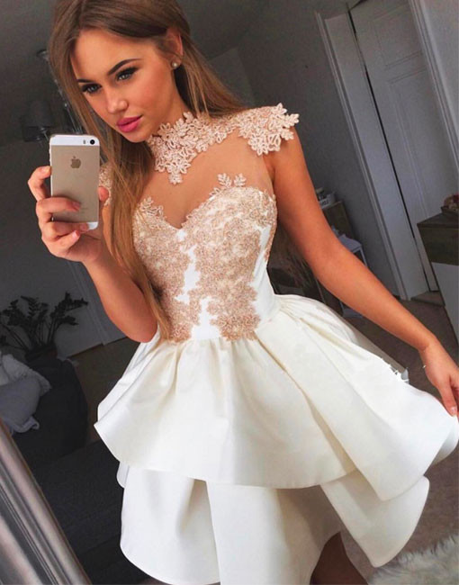 Cheap homecoming dresses 2017 Cute A-Line High Neck White Lace Short ...