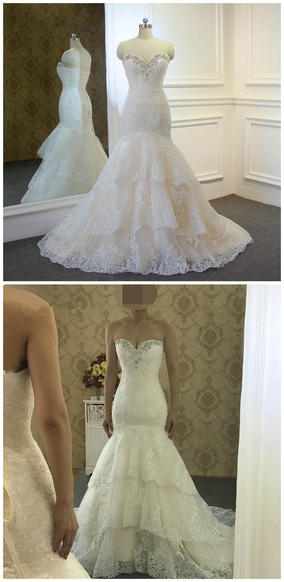 High Quality New Fashion Lace Mermaid Champagne and Ivory Wedding ...