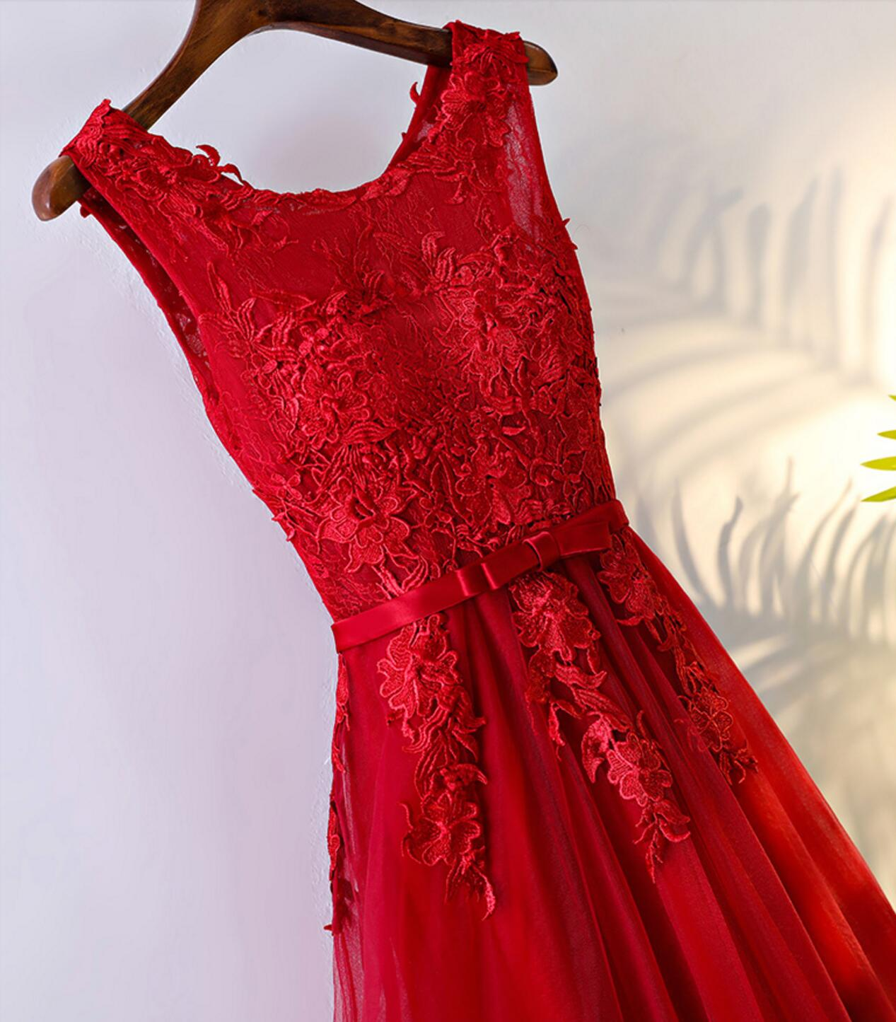 Red Lace Round Neckline Short Homecoming Prom Dresses, Affordable ...