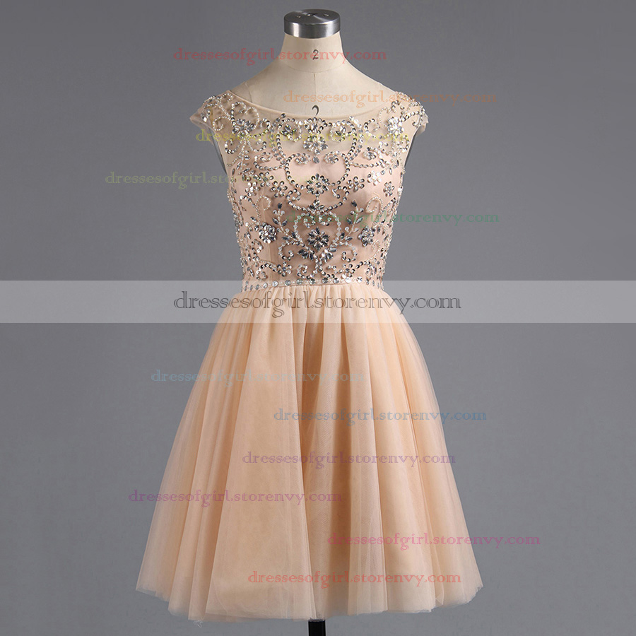 Short Homecoming Dresses, Casual Scoop Neck Pink Prom Dresses, Cheap ...