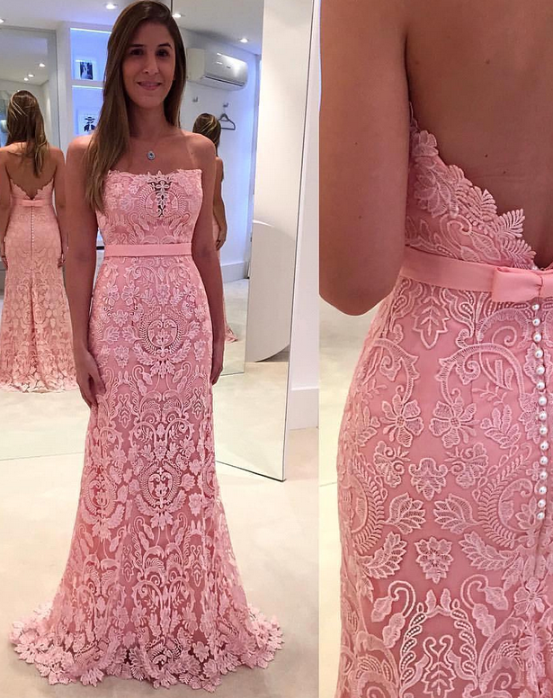 Gorgeous Lace Zipper Mermaid prom dresses Pink Pearls evening ...