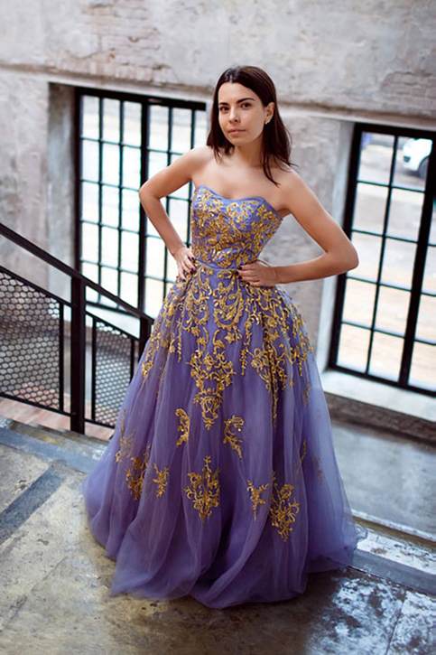 Sweetheart Gold Appliques Lavender Tulle Long Formal Prom