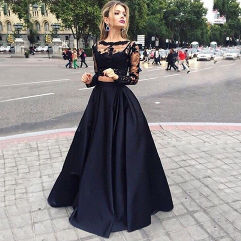 Two Piece Long Sleeve Prom Dresses Scoop Neck Black Party Dresses