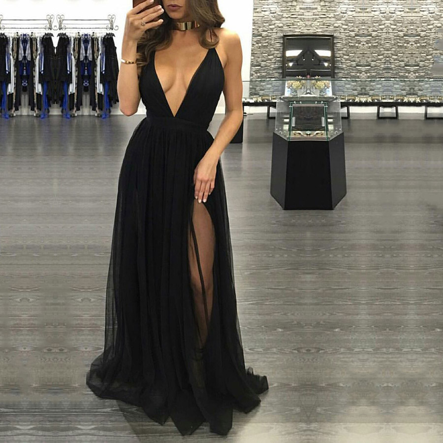Black Prom Dresses, Hot A-line V-neck Long Party Dresses, Sexy Tulle ...