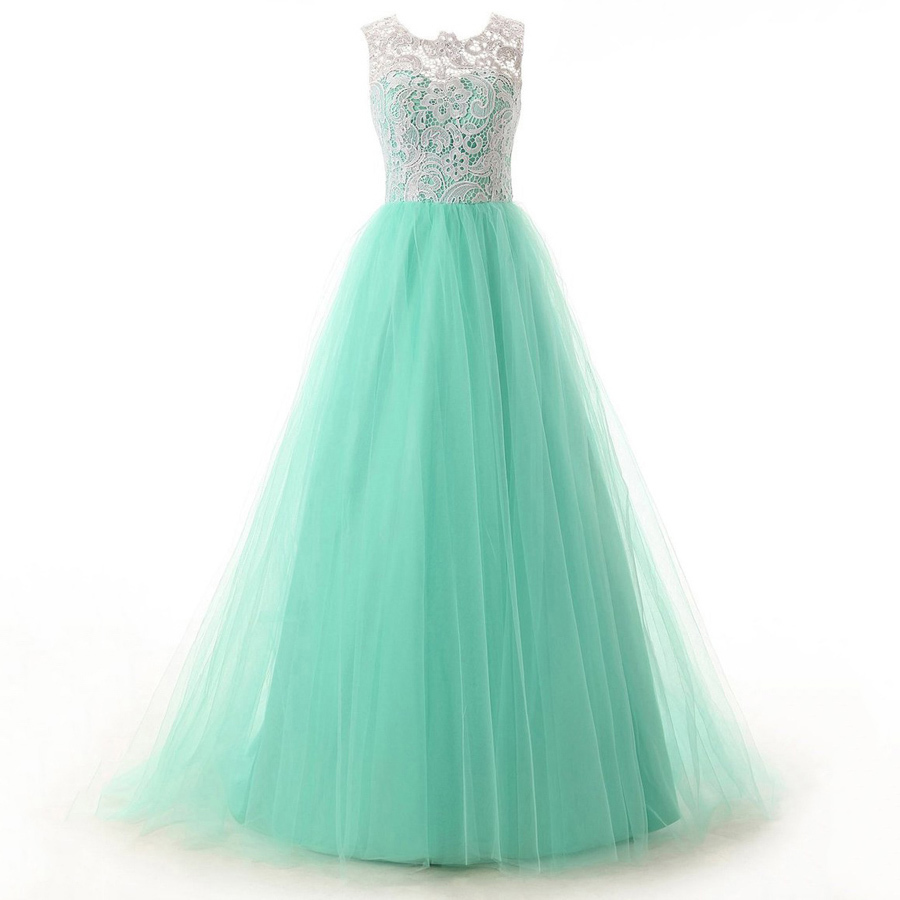 Discount Scoop Neck Green Prom Dresses, Sweep Train Lace Party ...