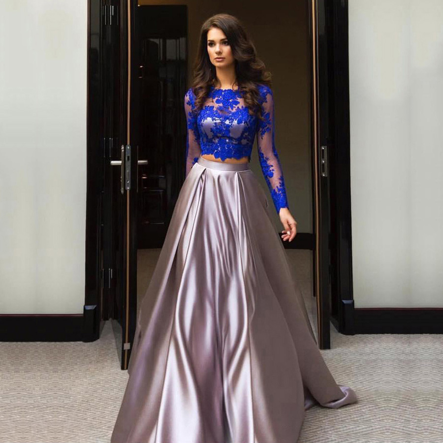 elegant long sleeve satin evening gowns