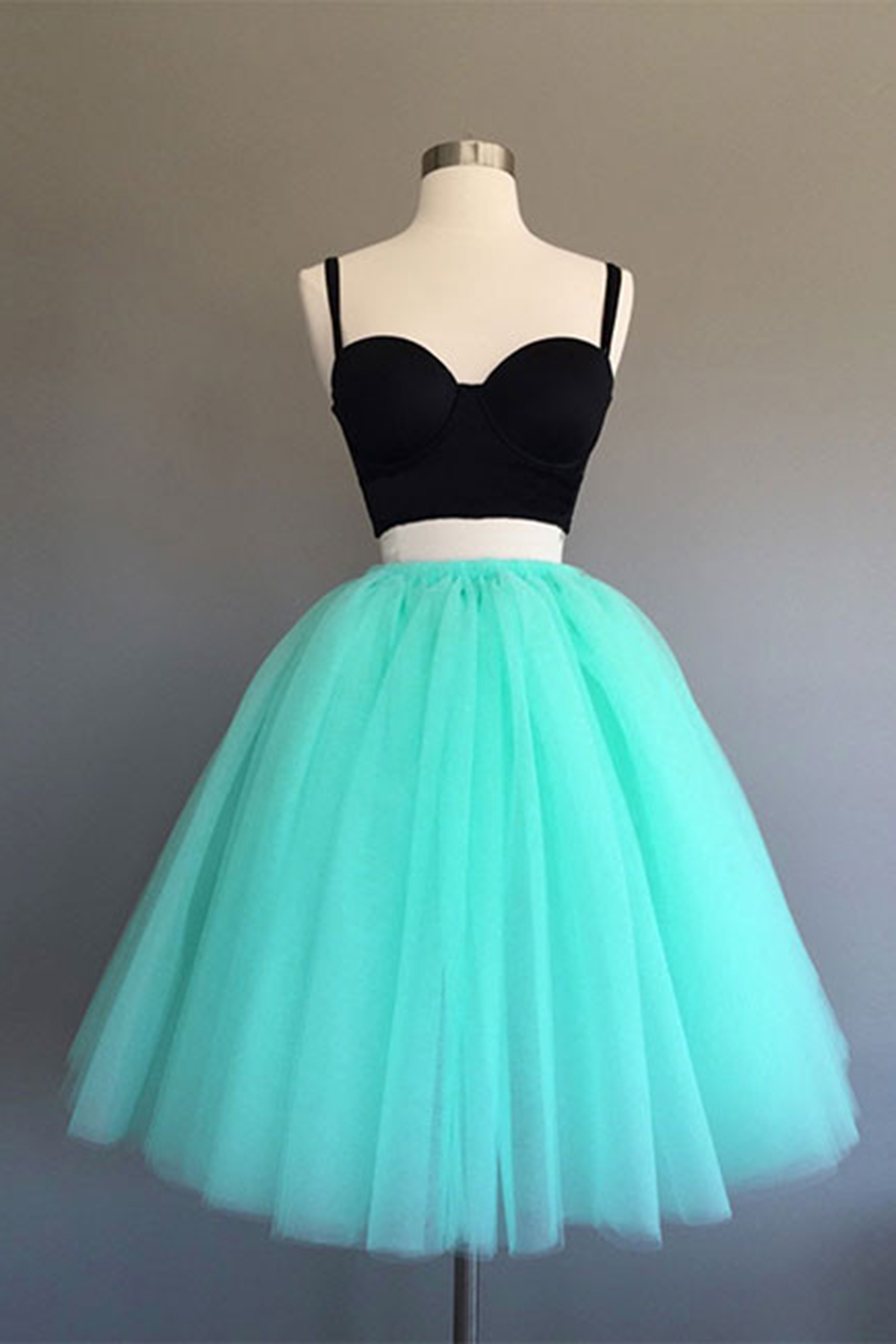 New arrival mint tulle short two pieces prom dress, homecoming dress ...