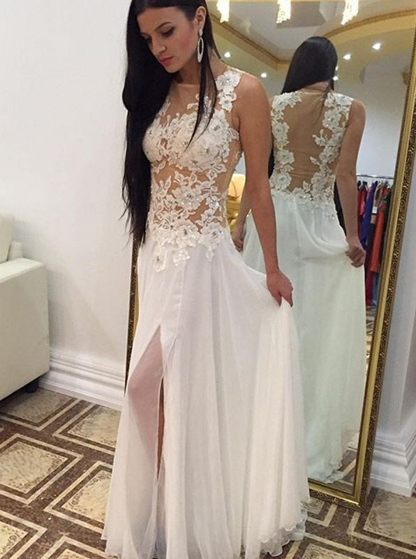 Long White Lace Appliques Chiffon Prom Dresses With Slitwedding