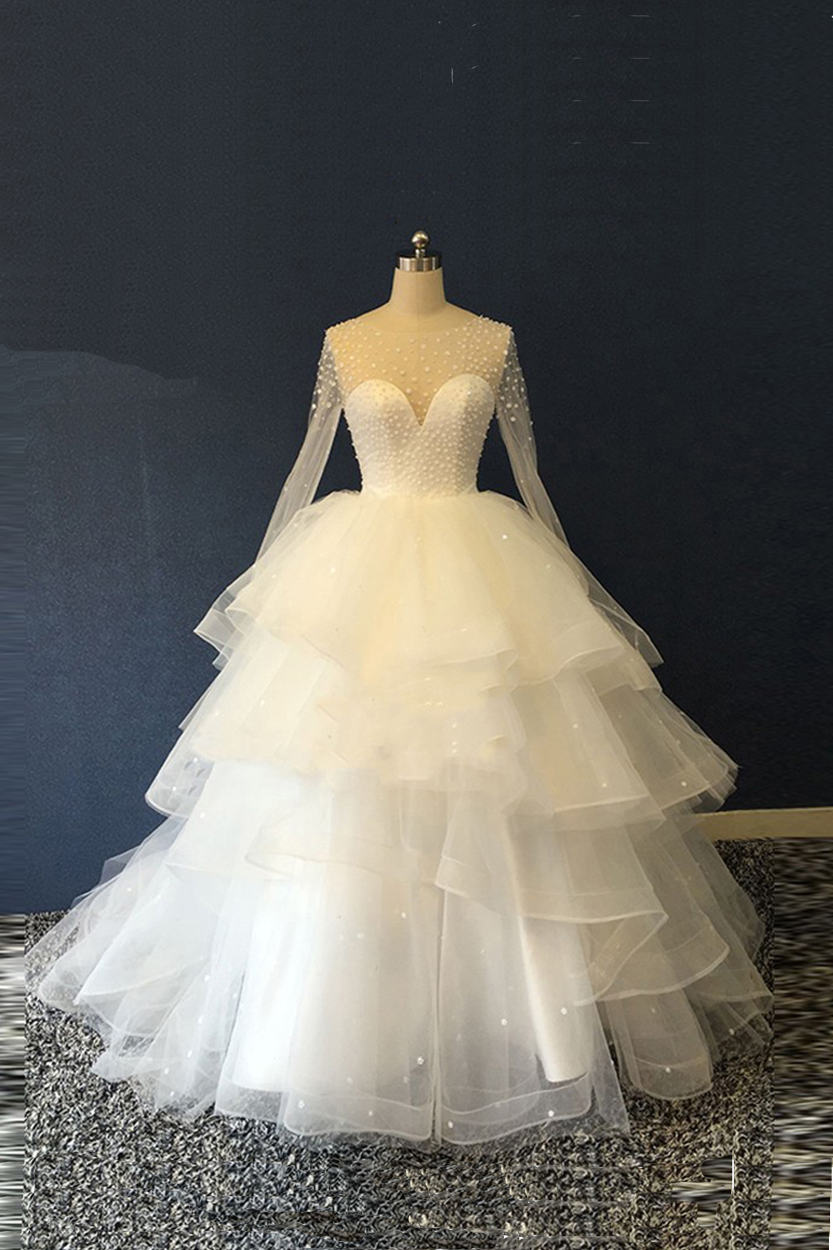 White Organza Long Sleeves Multi Layer Ball Gown Unique