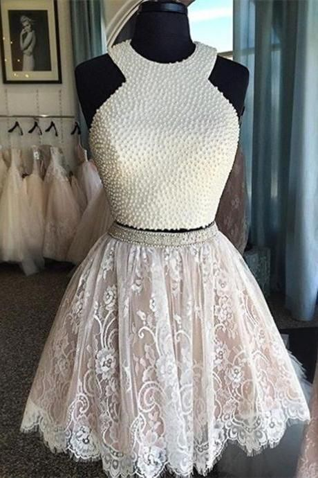 White Homecoming Dress,Lace Homecoming Gown,Tulle Homecoming Gowns ...