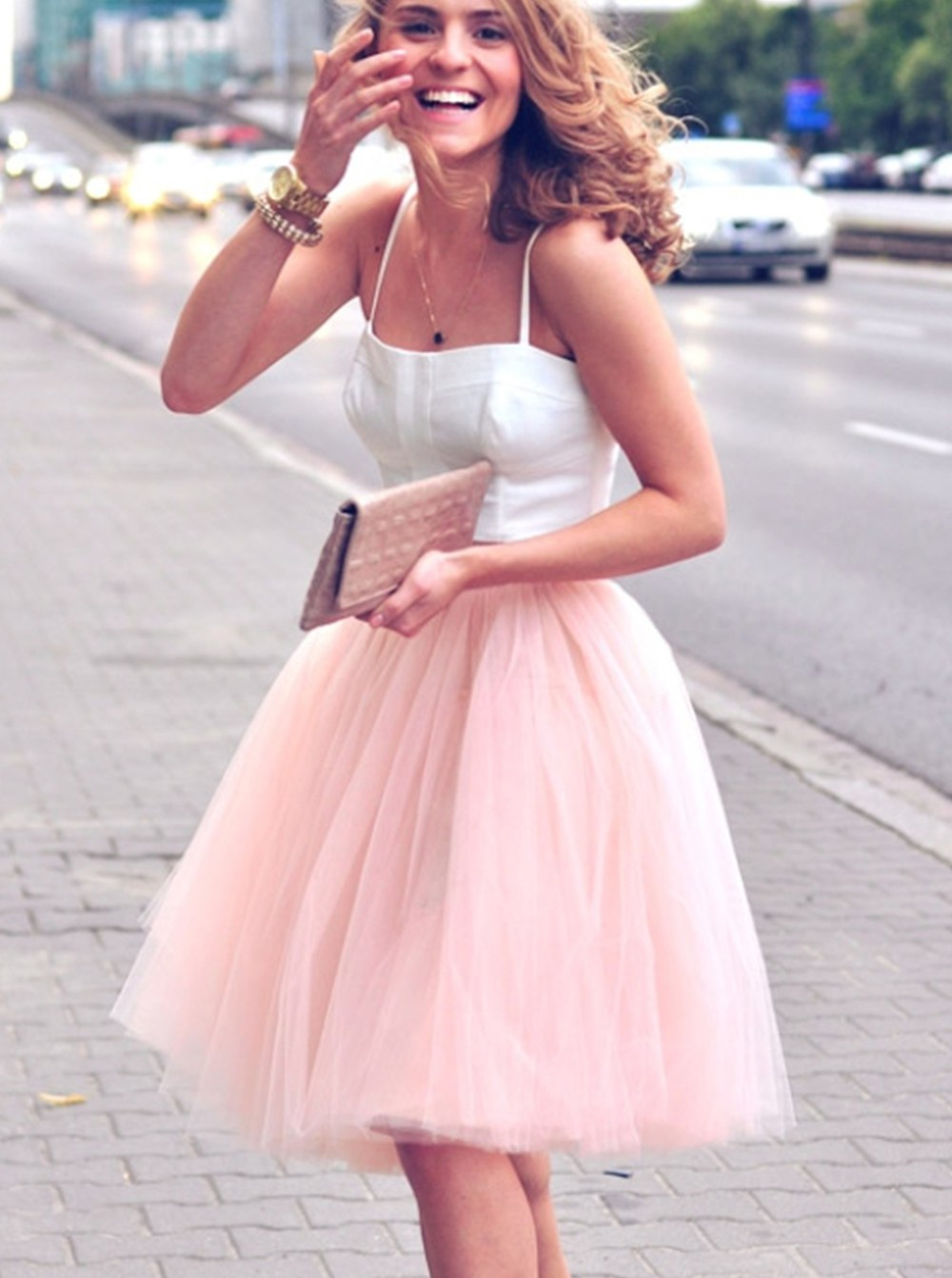 Two Pieces Short White Pink Homecoming Prom Dresses 106915 ...