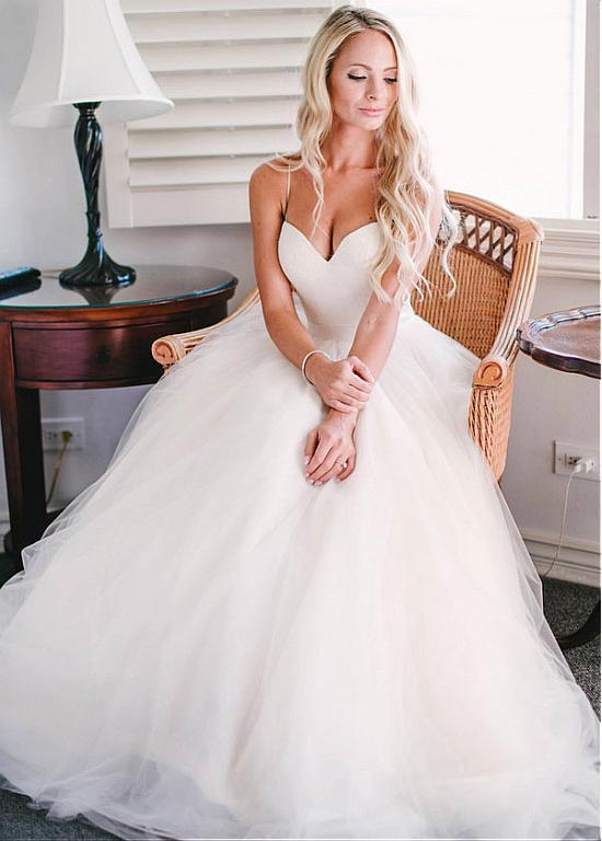 Pretty Wedding Dresses,Spaghetti Straps A-line Tulle Ivory Wedding ...