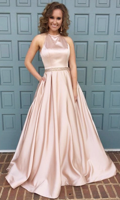 halter neck long satin pink prom dress,ball gowns prom dress,satin ...