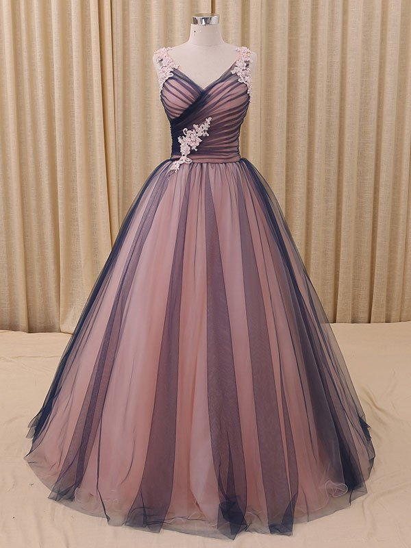 Charming A-Line V-Neck Navy Blue Princess Tulle Ball Gown Formal ...