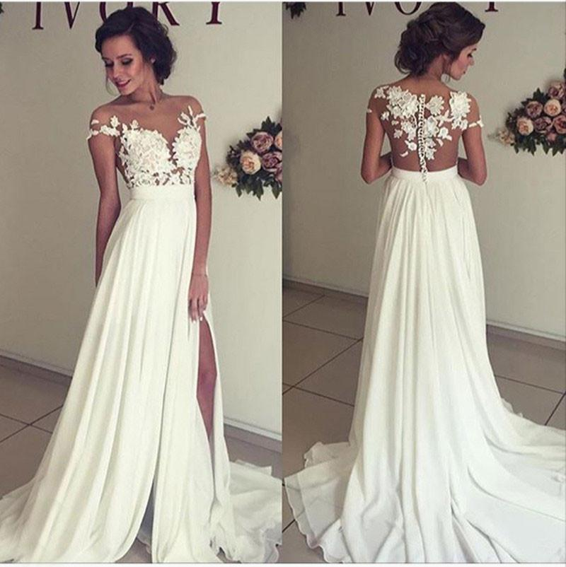 Ivory Chiffon Lace Elegant Long Wedding Dresses,Cheap A Line Wedding Gowns, Bridal