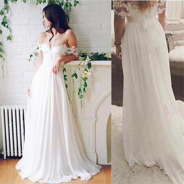 Simple White Lace Chiffon Wedding Dresses,Flowy Simple Beach Wedding Dresses ,Affordable Bridal Dresses