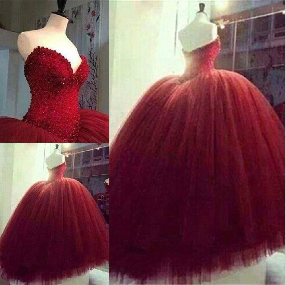 P426 Red Ball Gown Wedding Dresses,Sweetheart Wedding Dresses ...