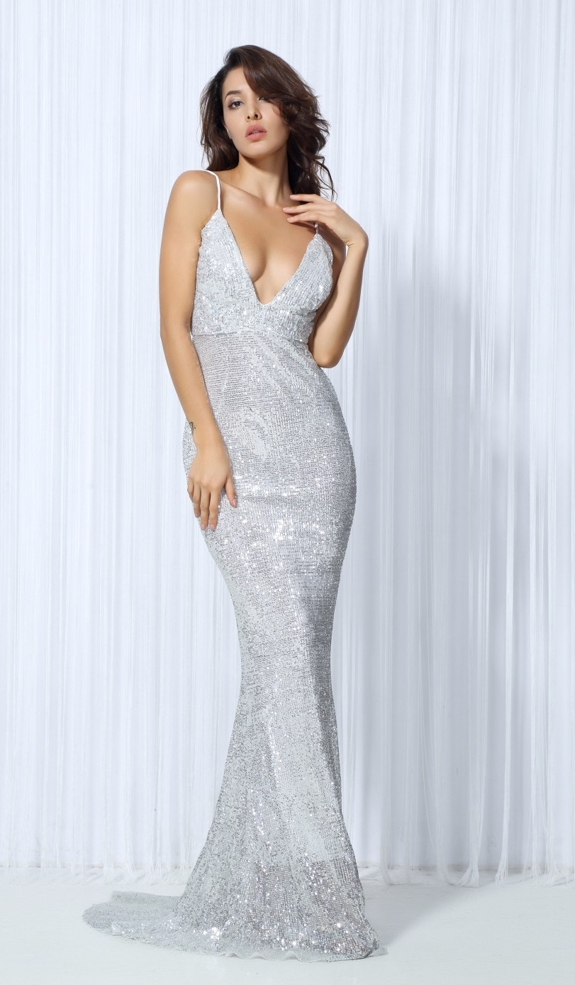 Silver Sequin Evening Gown · somethingshelikes · Online Store ...