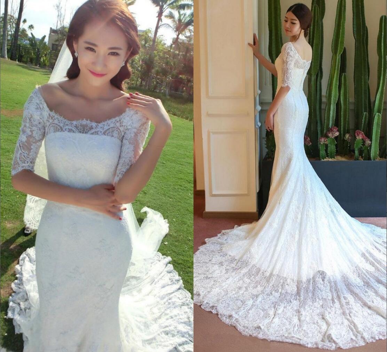 Mermaid Lace Wedding Dress,Long Sleeve Wedding Dress, Lace Wedding ...
