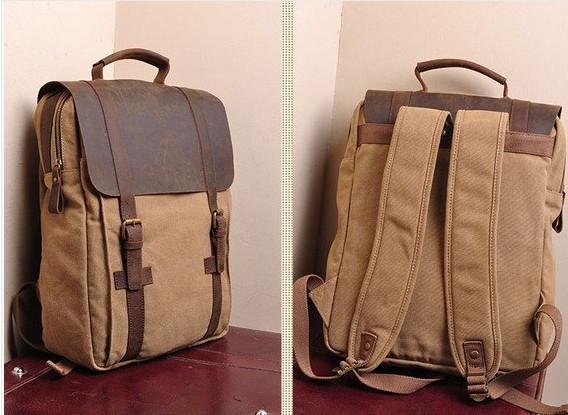 Large Antique Handmade Leather Backpack Satchel Travel Bag 17 ...