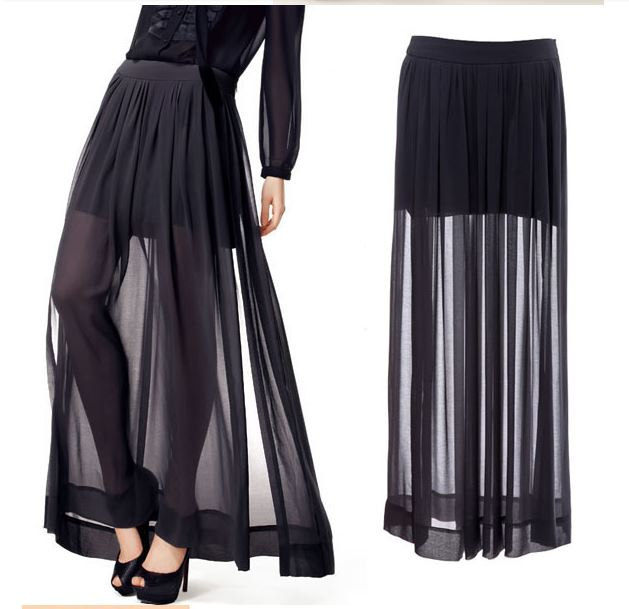 Free Shipping Vintage Black Side Split Pleated Maxi Skirt · Daisy ...