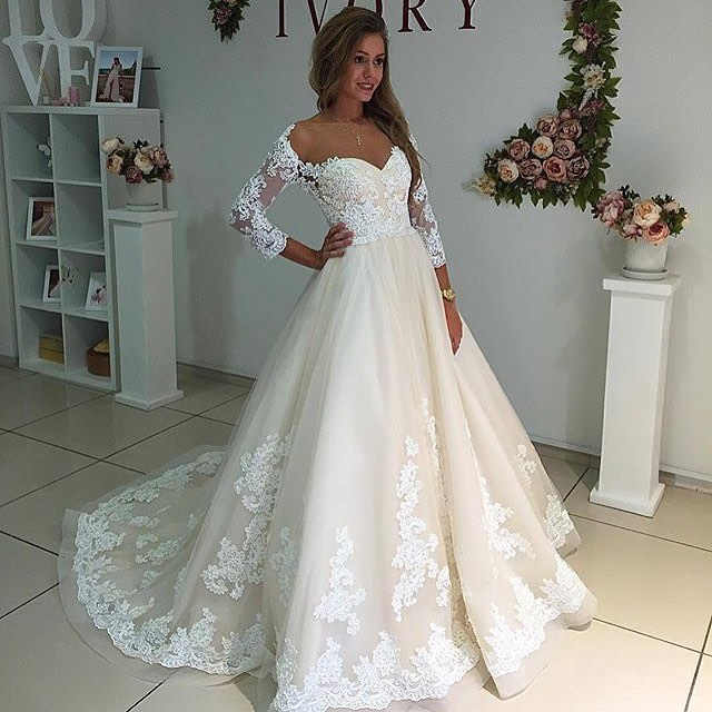Gorgeous A-line Three Quarter Sleeves White Lace Wedding Dress,Lace ...
