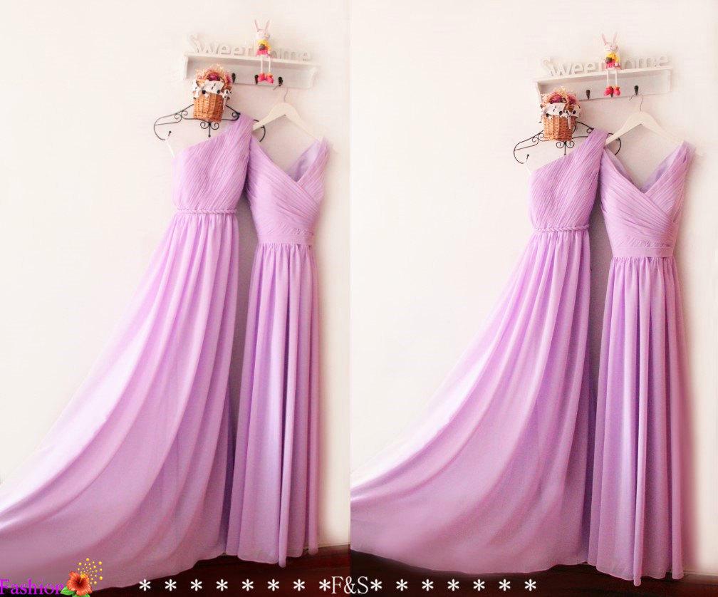 Purple Bridesmaid Dress Chiffon,Long Chiffon Prom Dress,One Shoulder ...