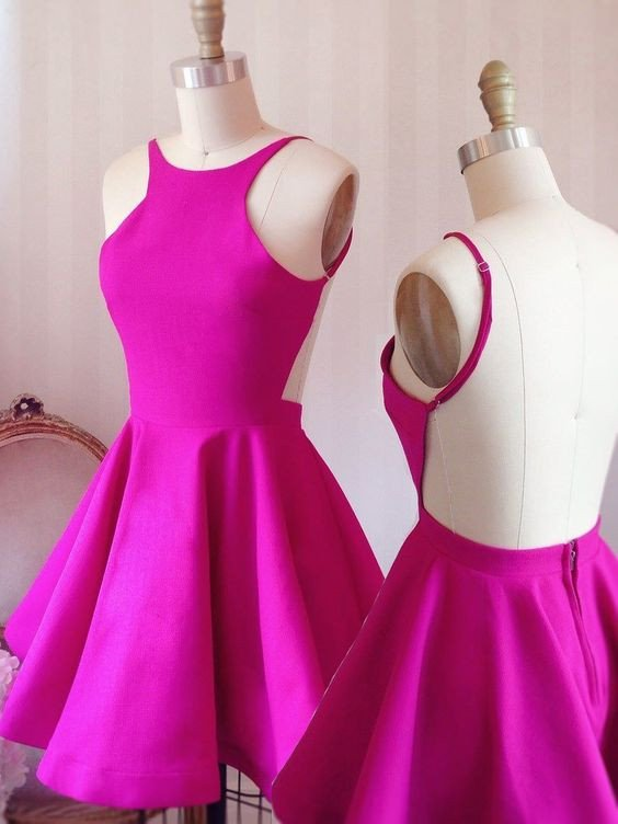 Rose satins backless A-line simple cheap short prom dresses,sexy ...