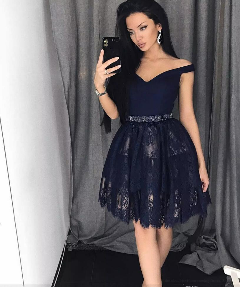Off-the-shoulder Homecoming Dress, Short Homecoming Dress, Navy ...