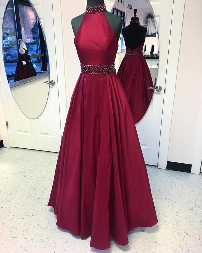 Halter High Neck Burgundy Taffeta Prom Dresses,Long Formal Dress for ...