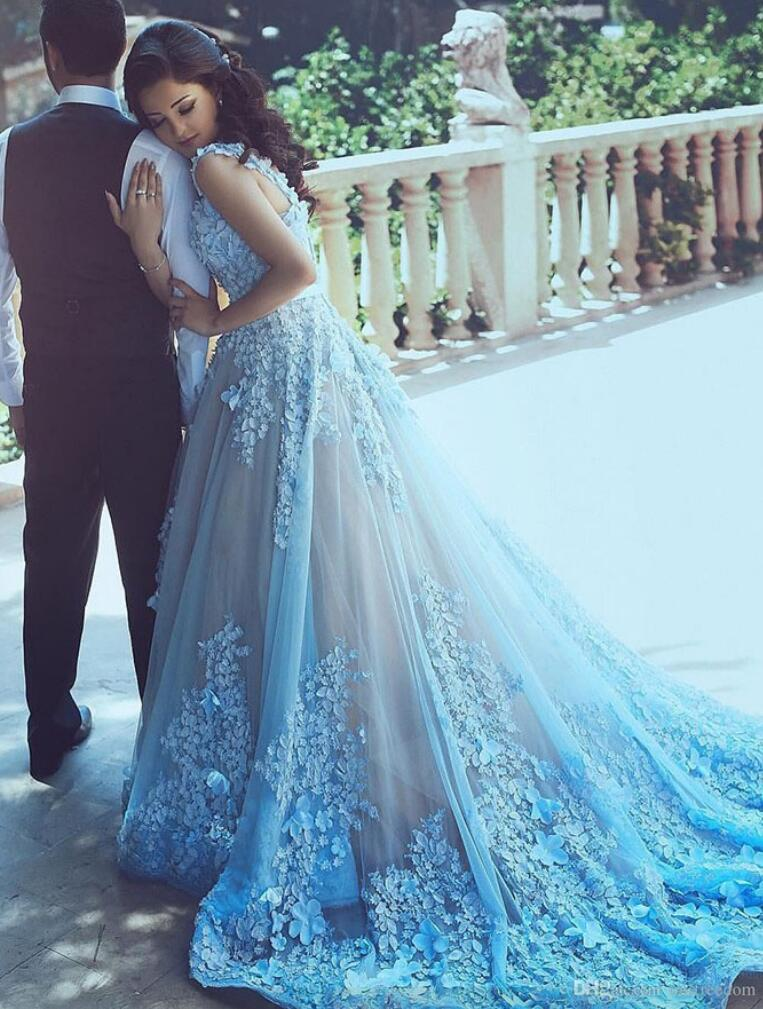 A-Line Wedding Dresses,Blue Wedding Dresses, Sleeveless Tulle ...