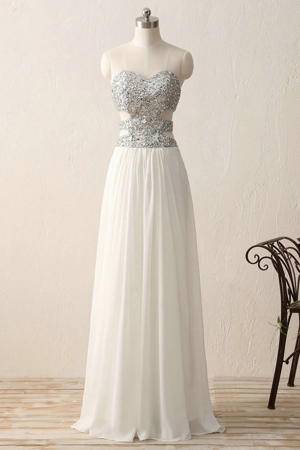 Elegant white simple hollow out prom dress, long sequins evening ...