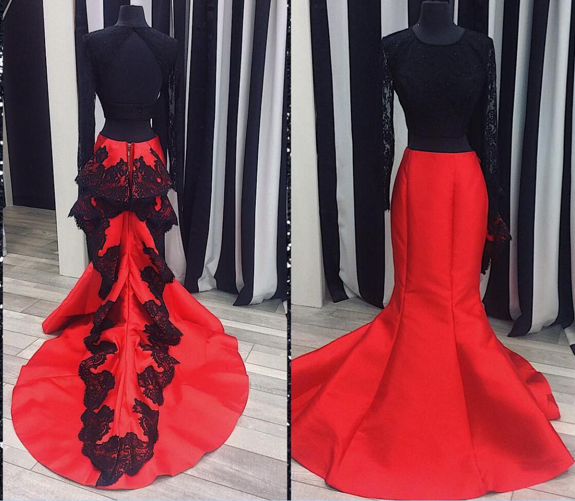 open back two piece black red lace long sleeve prom dresses,satin ...
