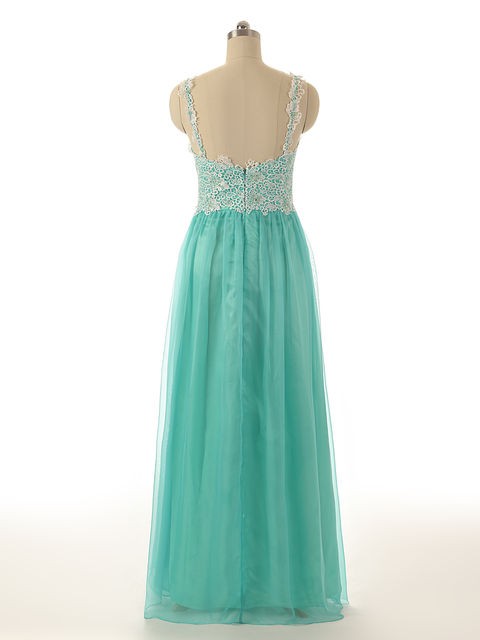 A74 Spaghetti Straps Mint Long Tulle Prom Gowns, Empire Long ...