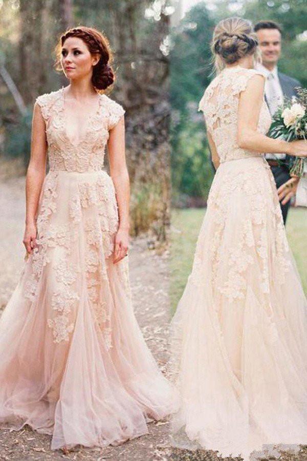 Elegant Wedding Dresses,Lace Tulle Long Wedding Dress,Wedding Gowns ...