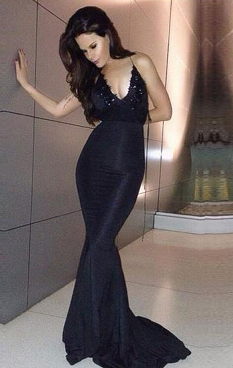 Backless Black Mermaid Formal Occasion Evening Dress Prom Gown ...