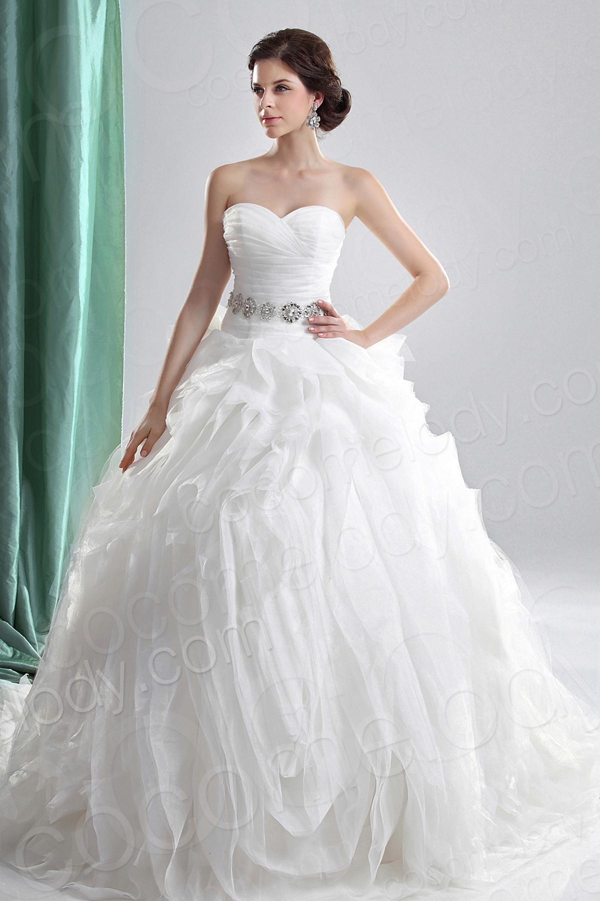 Ball Gown Sweetheart Chapel Train Chiffon Wedding Dress Cocomelody