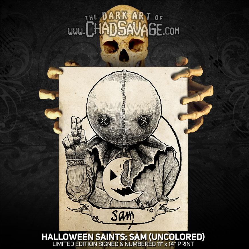 Halloween Saints Sam Art Print Color And Black White