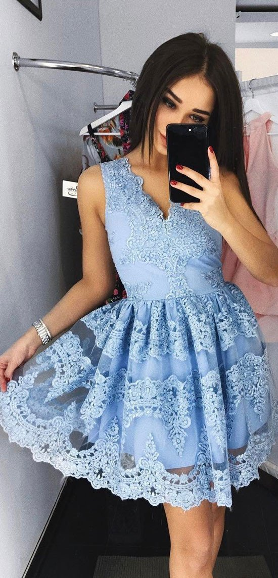 Lace Homecoming Dress,Short Prom Dress,Back To School Dresses, Prom ...