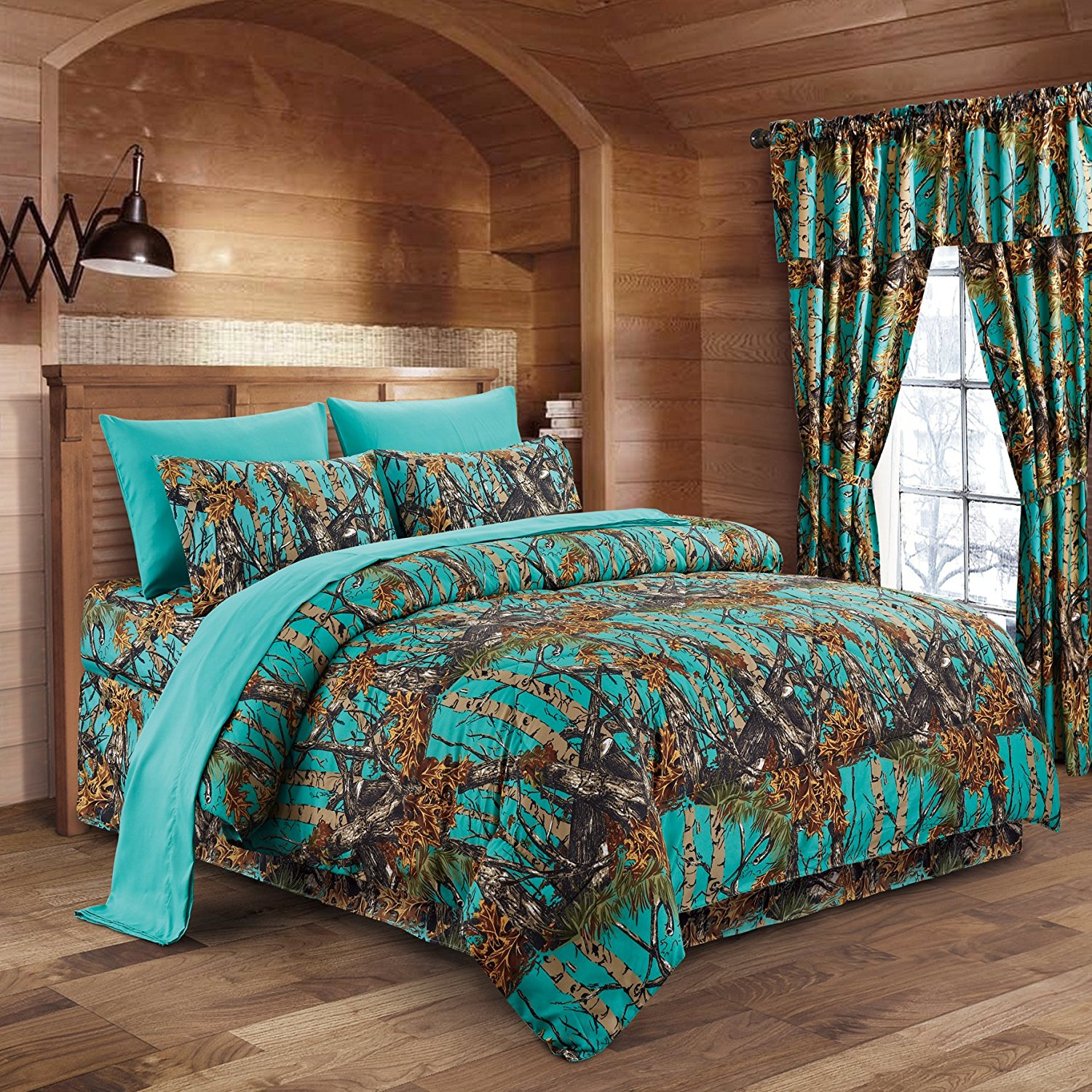 (The Woods Soft Teal Green Camouflage Queen 7pc.Premium