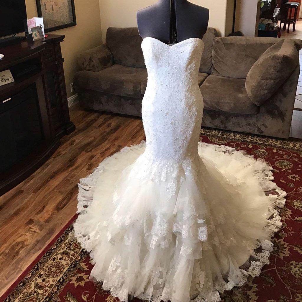 A446 Romantic Sweetheart Bodice Corset Lace Mermaid Wedding Dress With Ruffles Skirt: Lace Mermaid Wedding Dresses With Corset At Reisefeber.org