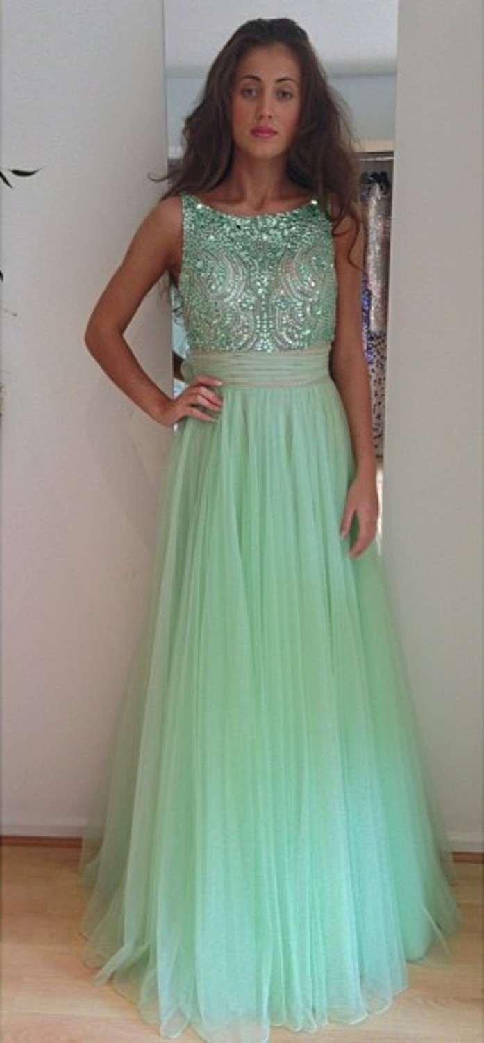Mint Green Long Tulle A Line Beading Sequin Long Prom Dress,A Line ...