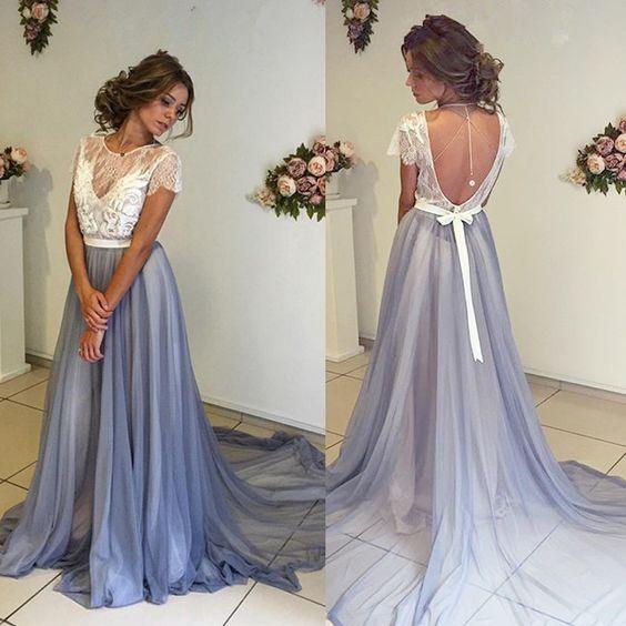 Long prom dresses, short sleeves prom dress, unique prom dress ...