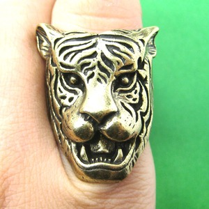 Tiger Head Shaped Animal Ring in Bronze in Sizes 6 to 8