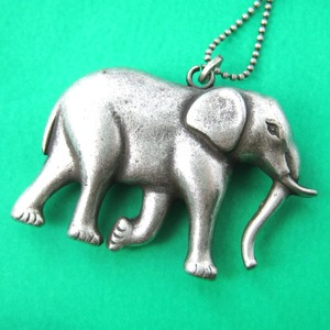 Large 3D Elephant Shaped Pendant Necklace in Silver