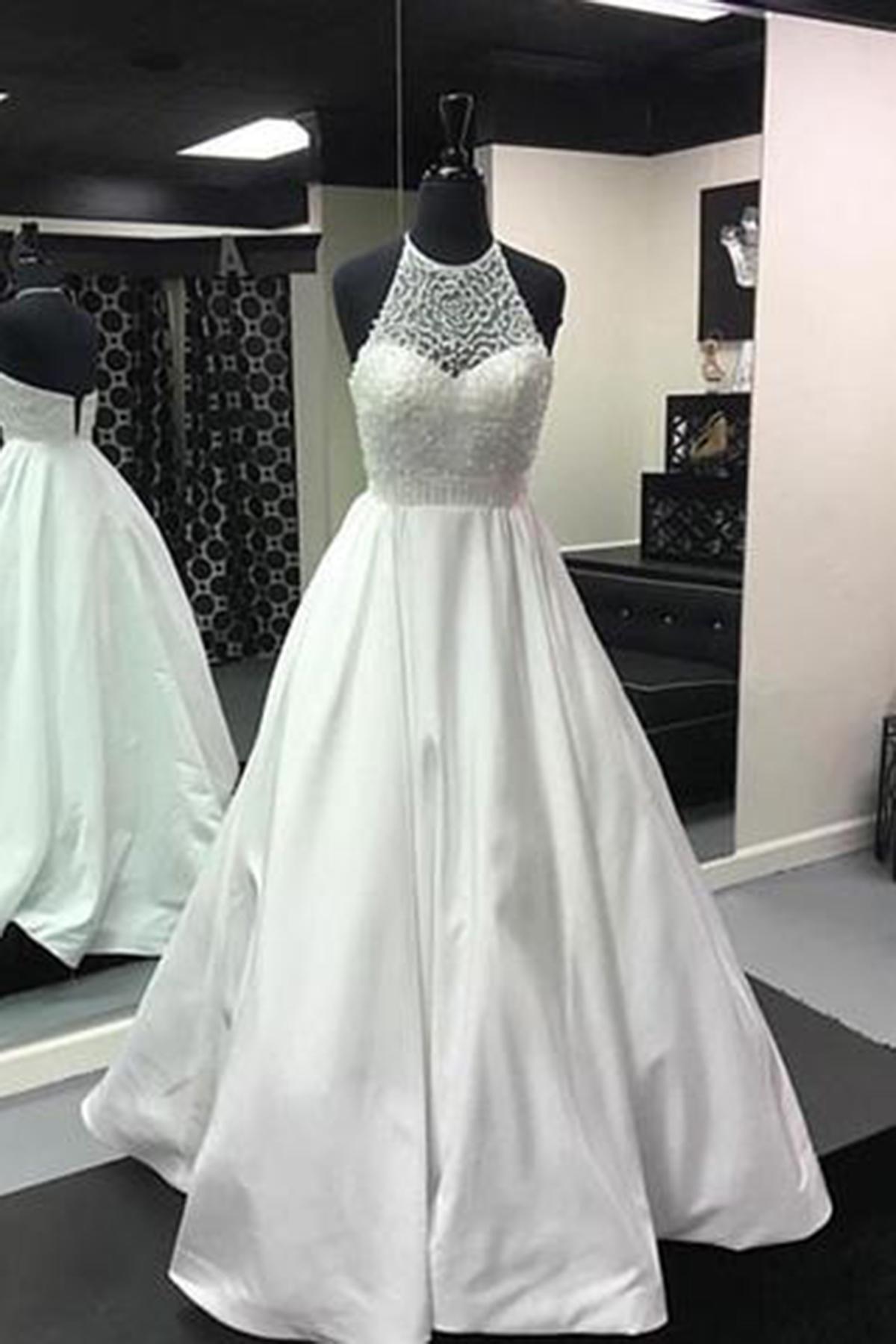 White backless long beaded senior prom dress, white evening dress ...