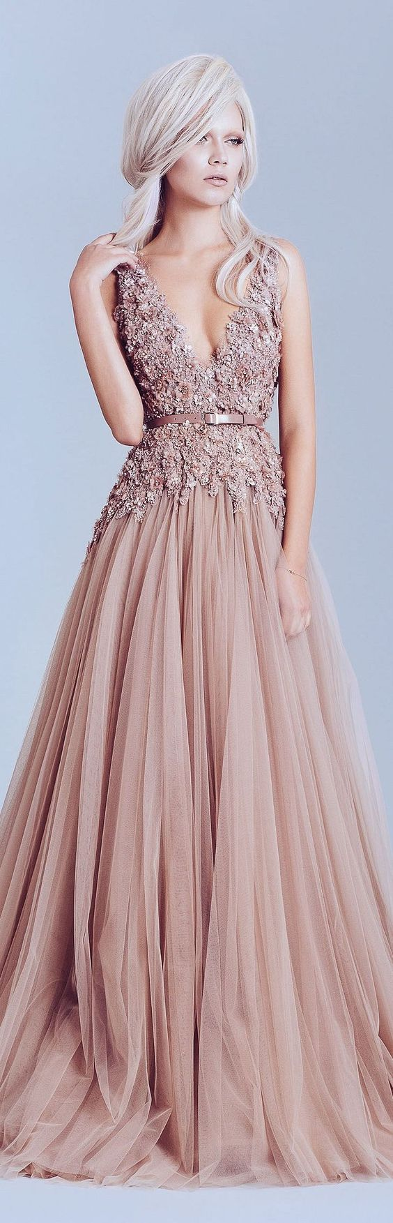 Elegant V-neck Prom Dress,A-line Ball Gowns,Floor Length Prom Dress ...