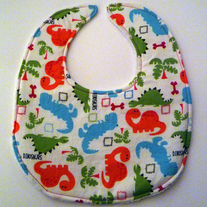 Baby bib (dinosaur fabric, terry cloth back)