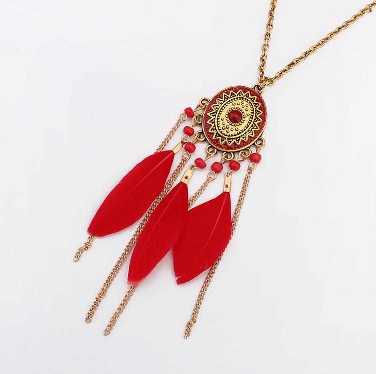 Fashion Bohemian Feather Tassel Beaded Pendant Long Chain Choker Collar Necklace